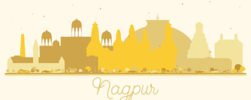 Nagpur India City skyline golden silhouette. Simple flat concept for tourism presentation, banner, placard or web site. Nagpur Cityscape with landmarks.